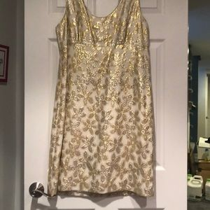 Kate Spade Gold Brocade Cocktail Dress